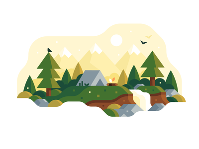 Summer Camping scene trees mountains summer camping nature landscape flat vector illustration