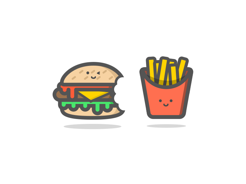 Burger & Chips outline illustration vector fries chips burger food