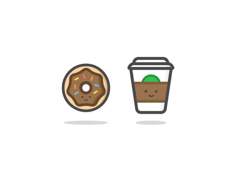 Donut & Coffee happy drink food outline vector illustration donut coffee
