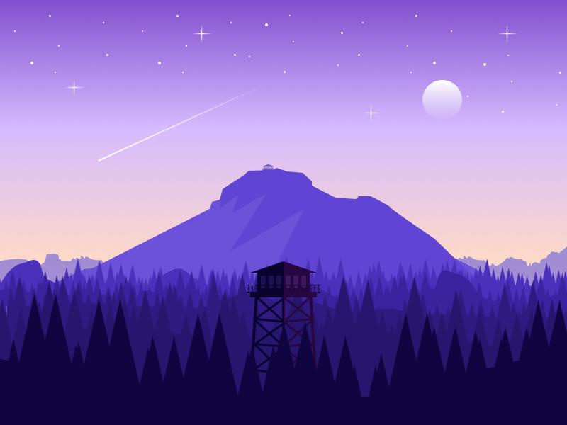 Firewatch gradient forrest purple moon mountain landscape illustration firewatch