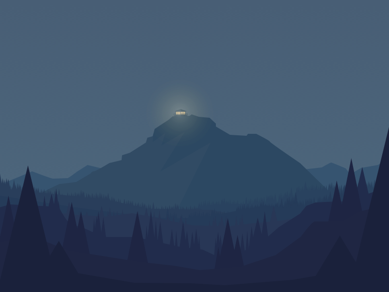 Thorofare Lookout dark forrest mountain illustration firewatch landscape night