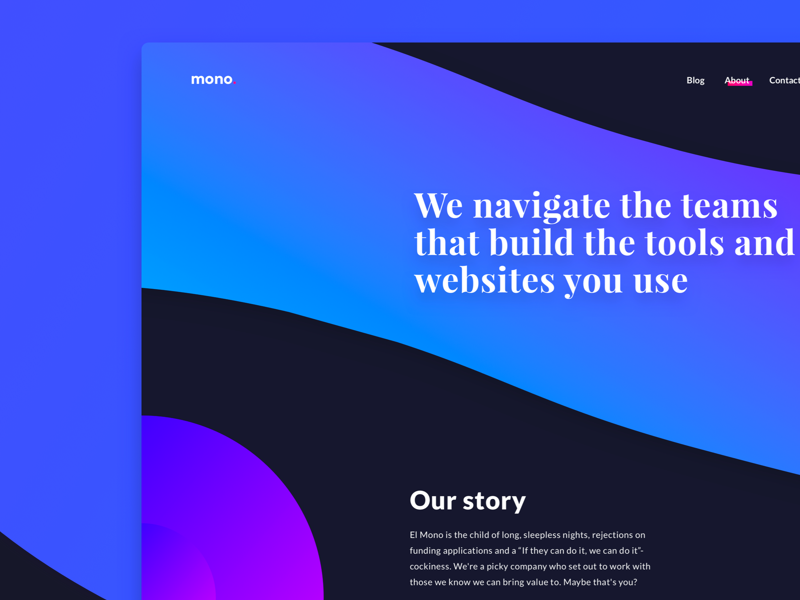 El Mono - About Page display colorful shapes gradient about web