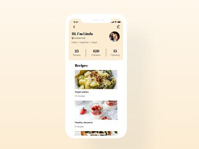 Daily UI Challenge   User Profile food app profile page userprofile recipe app recipe food ios phone application uxdesign ux uiux ui uidesign simple dailyuichallenge appdesign app