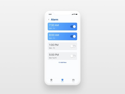Daily UI Challenge   On/Off Switch alarm app alarm toggle onoffswitch design application appdesign simple uidesign uxdesign uiux ux ui dailyuichallenge