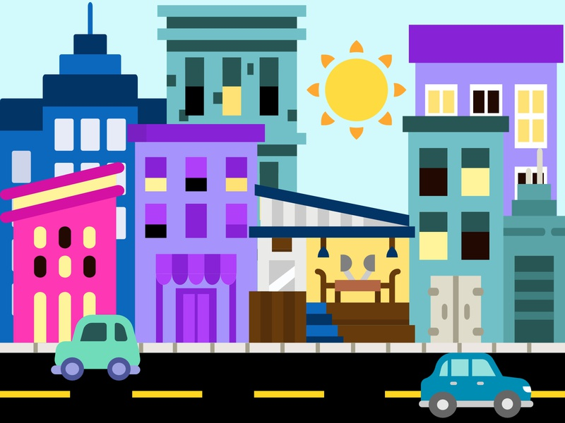 A Sunny City apartments metropolis sunny illustration graphicdesign simple cute design city illustration city