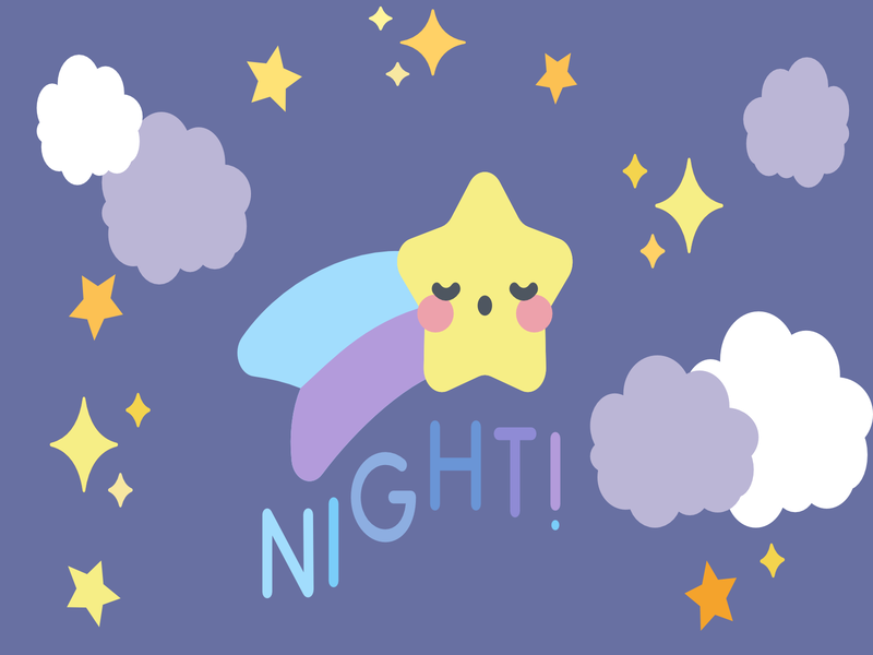Good Night! cloud sky night illustration cute illustration graphicdesign adorable simple design cute