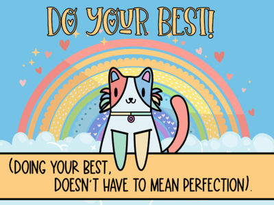 Crafty Rainbow Cat Advice mentalhealth cute animal graphicdesign adorable cat rainbow crafty design cute