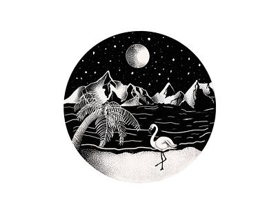 Flamingo by Night birds design illustration flamingo procreate art procreate app procreate