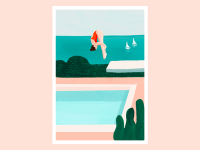 Diving Girl illustration procreate