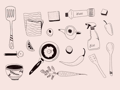 Objects doodling outline illustration procreate