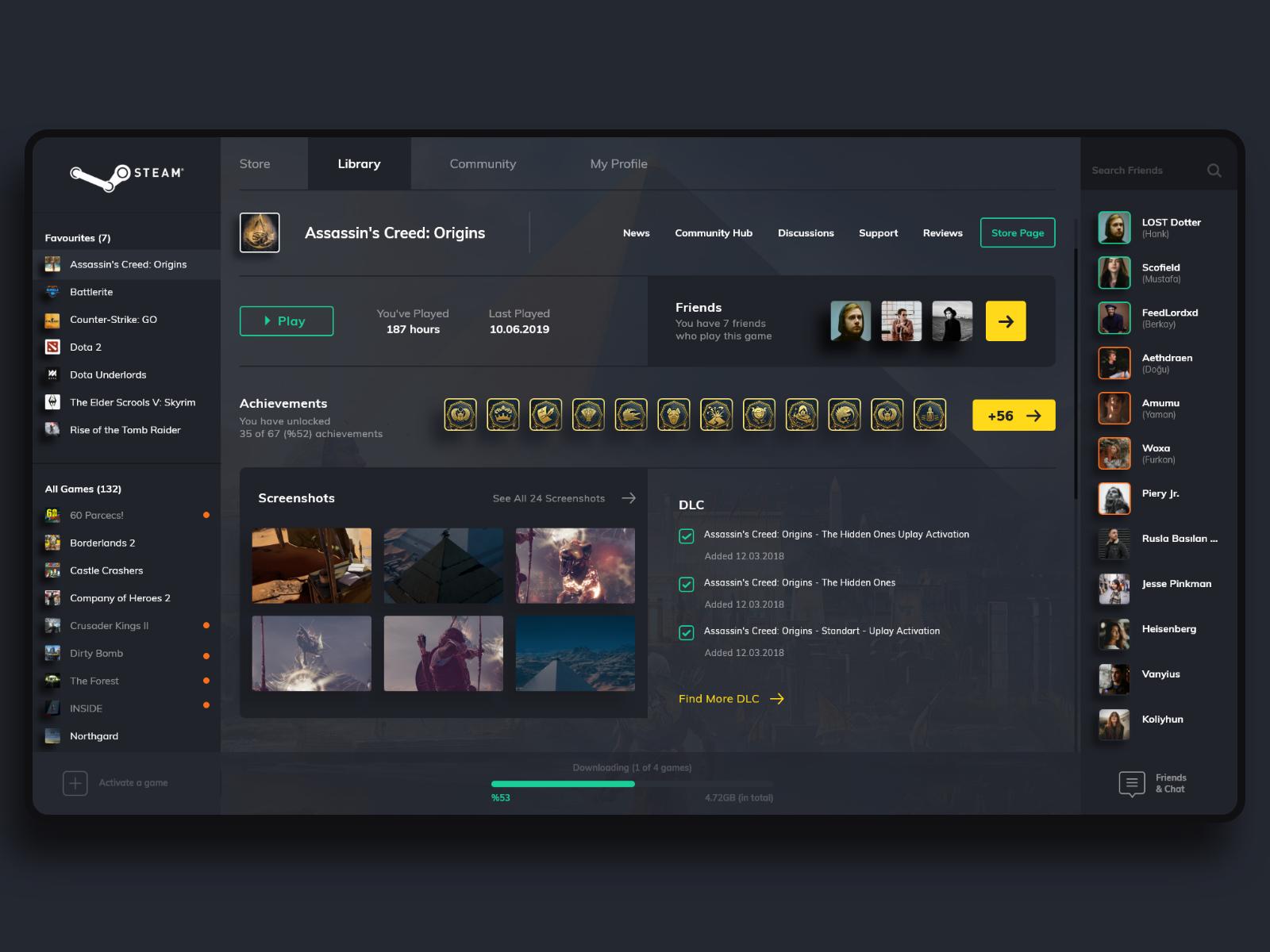 Steam App Redesign by grafisyen on Dribbble