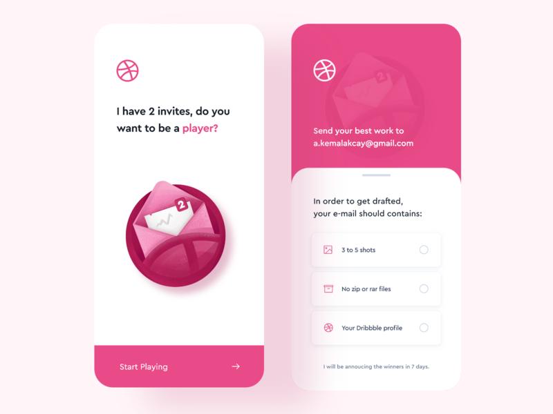 2 Dribbble Invites & Mobile App Concept