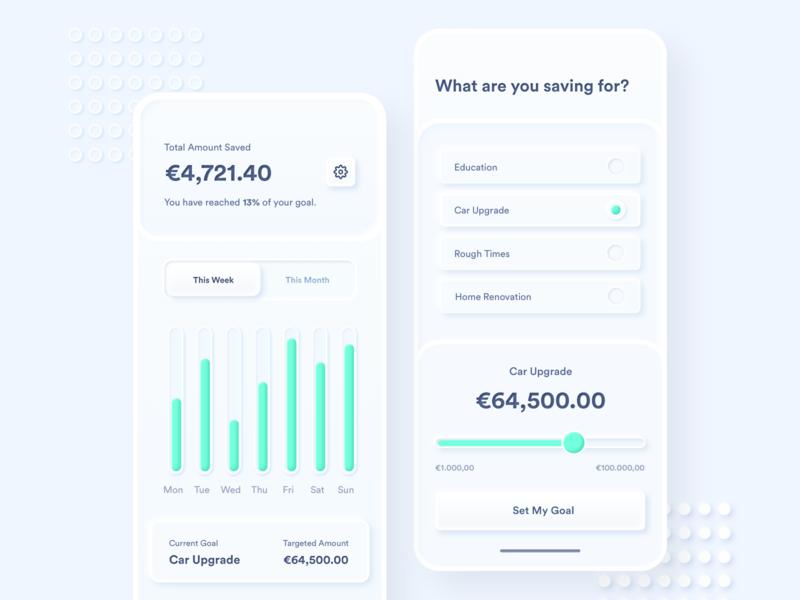 Skeuomorphic Savings App Concept