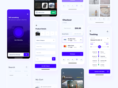 E-Commerce App Screens editorial shipment e-commerce app checkout shipping tracking ecommerce video upload search product listing neuomorphic trend skeuomorphic skeuomorphism neuomorphism peer to peer app ui mobile app app ux ui design
