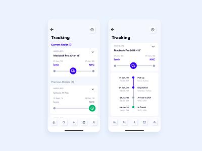 Tracking Screens of E-Commerce App ux design mobile ui soft ui neuomorphism skeuomorphism animation app ui app ux mobile app order management ecommerce app purchase order tracking shipping tracking