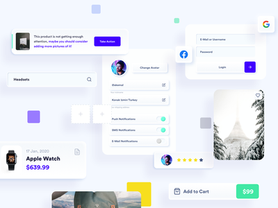 Components of E-Commerce App - II neuomorphic soft ui settings profile settings call to action toggle switch button search bar input form login image card rating ai alert banner app elements components skeuomorphism