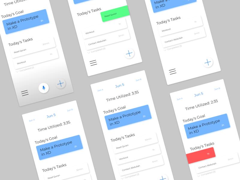 To-Do App (Concept) voice time goals goal todo app task manager task list tasks task to-do todo adobe xd adobexd adobe app ux ui minimal flat design