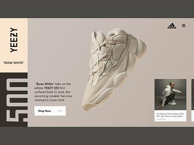Adidas Yeezy Landing Page flatdesign landingpage web design yeezy adidas uiux sneaker sneakerhead daily ui design ui branding shopping adobexd webdesign uidesign uiuxdesign