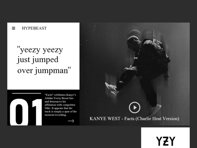 Artist web landing page design artist fashion design minimalist yeezus yeezy kanyewest hypebeast branding website design flatdesign adobexd dailyuix daily ui bold webdesign uxdesign uidesign ux ui ui ux