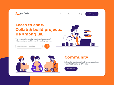 getCode community landing page daily ui coding uiuxdesign webdesign illustration landingpage uiux adobexd flat landing page design website design website uxdesign uidesign