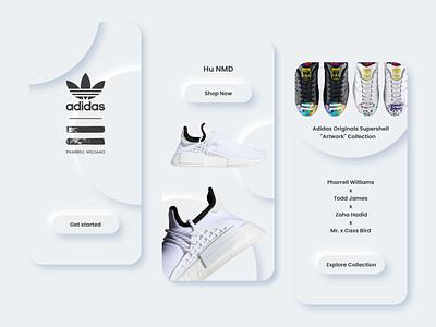 Adidas x Pharrell soft UI app dailyui mobile landing page mobile app design mobile ui adobexd sneaker art sneaker app landing page minimalism adidas originals landingpage branding uiuxdesign uidesign design neumorphism soft ui app design