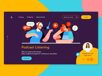 Podcast web landing page dribbbleshot dribbble user interface design adobe creativecloud illlustration podcasting userexperiencedesign flatdesign landing page design webdesign uiux landingpage adobexd daily ui uiuxdesign uidesign