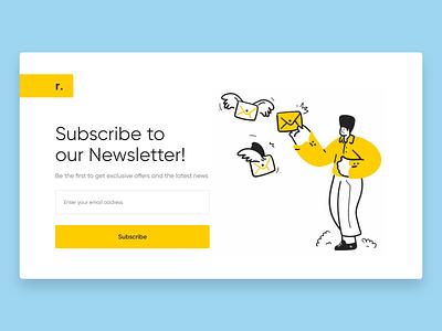 Daily UI Design Challenge - Newsletter subscription userinterfacedesign userexperiencedesign flatdesign minimalistic webpage newsletter illustration daily ui webdesign uiuxdesign uidesign adobexd uiux ui