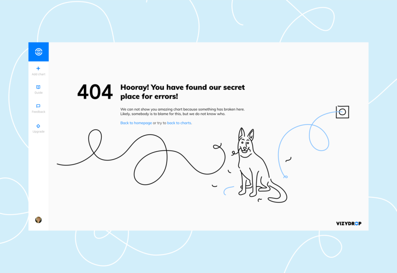 Vizydrop Dog website illustration 404