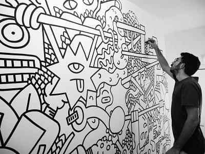 BRAND NEW IMPROVISATION MURAL line plants graffiti animals drawing streetart pattern creative illustrator doodling illustration character wall marker black and white improvisation doodles doodle murals mural