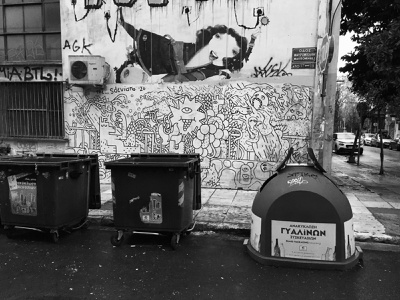 STREET MURALS quarantine trash fashion fabric just lines lines brush painted graffiti athens black and white wall illustration sdeviano contemporary paint doodling doodle