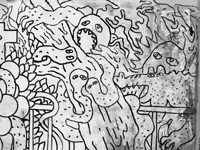 DETAIL:JAMMING IN THE STREETS OF ATHENS graffiti graffiti art trash street art blackandwhite sdeviano streetart illustrator creative character doodling doodle illustration