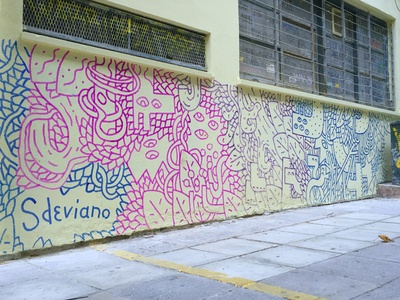 I FOUND SOME OLD METALLIC MARKERS... pattern fashion wall art wall muralist style keith haring line streetart graffiti street characters sdeviano illustration doodling doodles doodle mural