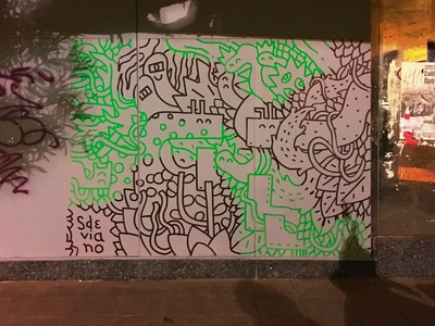 STREET VIBES athens marker posca pattern plant nature characters sdeviano stroke illustree street credits wall freestyle doodles lines mural graffiti art streetart street