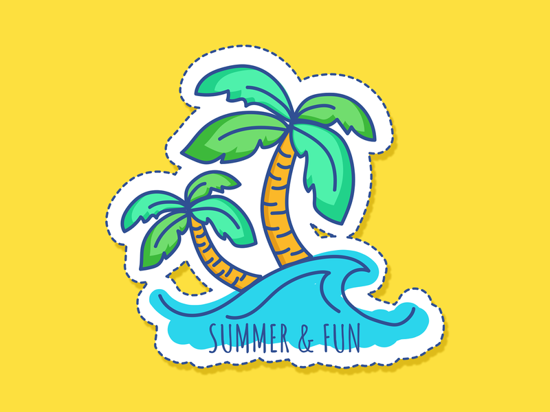 Summer Vacation art vacation fun parm tree summertime stickers branding app design icon drawing vector illustration