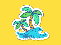 Summer Vacation art vacation fun parm tree summertime stickers branding app design icon drawing vector illustration