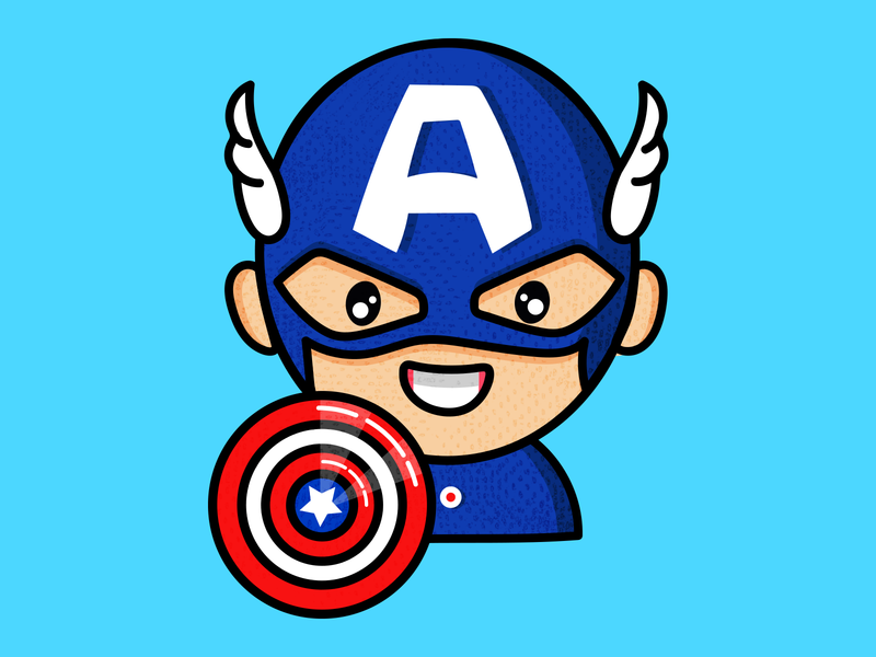 Captain America symbols sticker captainamerica minimal outline flat vector logo app design icon illustration ui