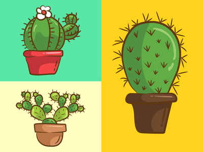 Cactus Plants flat cactus cactus illustration stickers app branding art outline drawing vector illustration ui