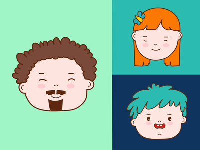 Face Expression flat sticker art outline ux design icon drawing face faces vector branding ui