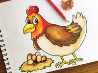 Hen in Oil Pastel Shading