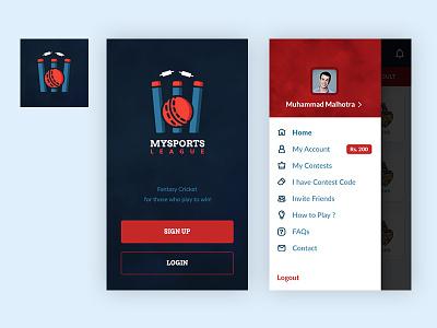 MSL App Design splash screen menu design side navigation side menu ios interface cricket app app branding branding ui ux