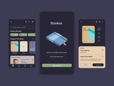 Bookos, Your E-Book Solution typography minimal design ux user interface userinterface ui interface