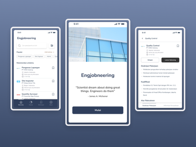 Engjobneering, Job Search Application for Civil Engineering job application civil engineering typography icon app ux ui user interface userinterface minimal interface design