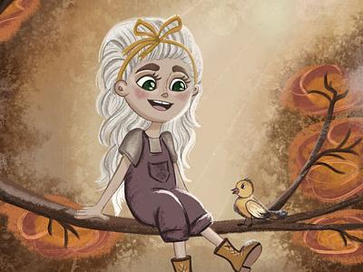 Warm autumn 🍂 fall weatwer bird baby girl kid autumn artwork girl character colour characters sketch art illustration