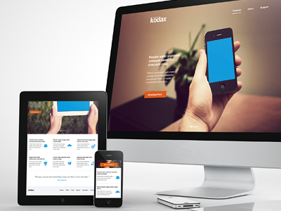 Kodax - Landing Page Theme app landing page iphone ipad slider full screen