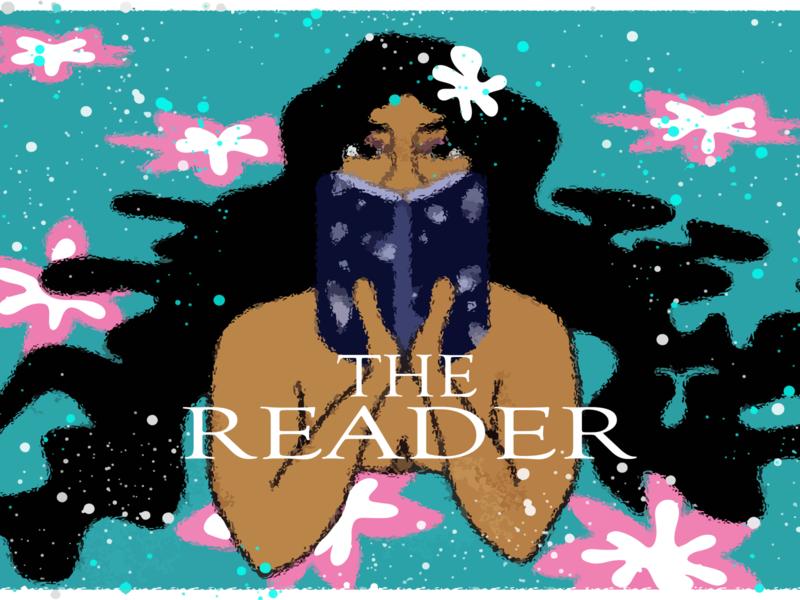 Reader girl in water the reader doodle colour artwork inspiration design digital art drawing illustraion