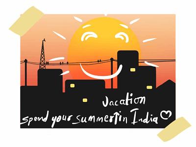 summer time sunrise rebound summertime design digital art drawing illustraion