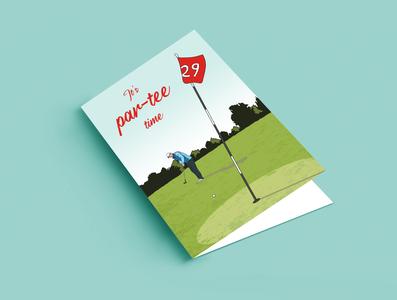 Golf Card golf greeting card birthday card illustration design