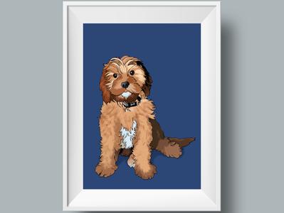 Pawtrait graphic design illustration design cavapoo dog pet portrait pawtrait