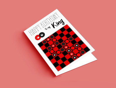 Draughts Card typography birthday card greeting card graphic design illustration design