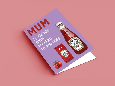Ketchup Card cute personalised design graphic design illustration punk mothersday customisable heinz ketchup